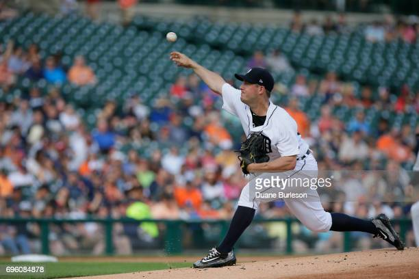 Jordan Zimmermann of the Detroit Tigers pitches against the Arizona Diamondbacks during the first inning at Comerica Park on June 14 2017 in Detroit...