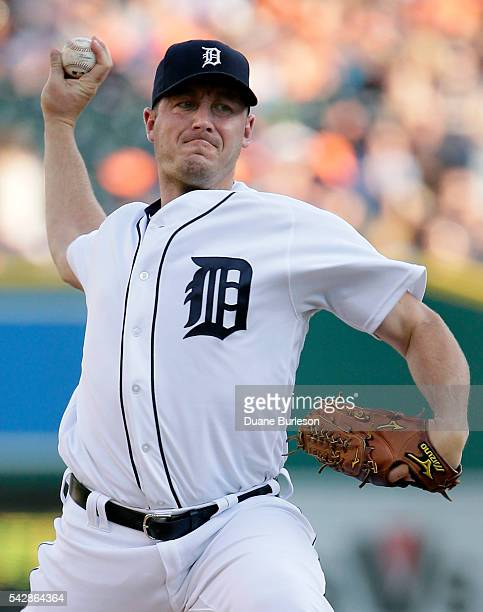 Jordan Zimmermann of the Detroit Tigers pitches against the Cleveland Indians during the first inning at Comerica Park on June 24 2016 in Detroit...