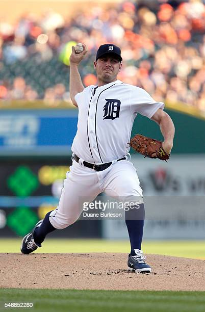 Jordan Zimmermann of the Detroit Tigers pitches against the Cleveland Indians at Comerica Park on June 24 2016 in Detroit Michigan