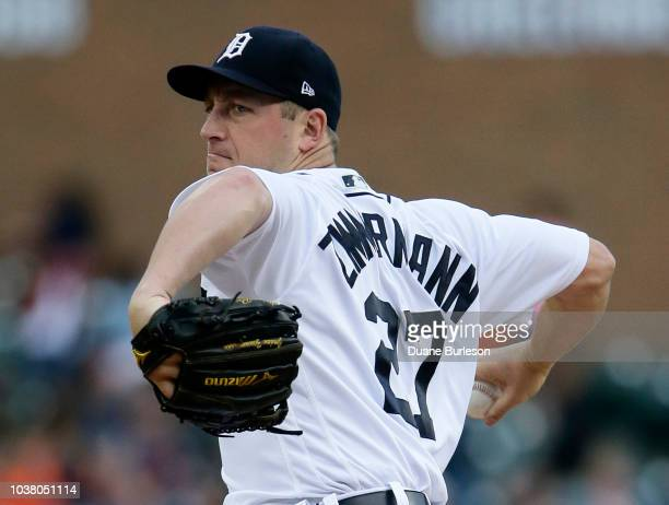 Jordan Zimmermann of the Detroit Tigers pitches against the Kansas City Royals during the second inning at Comerica Park on September 22 2018 in...