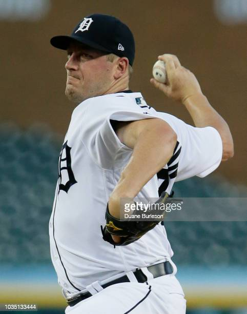 Jordan Zimmermann of the Detroit Tigers pitches against the Minnesota Twins during the second inning at Comerica Park on September 17 2018 in Detroit...