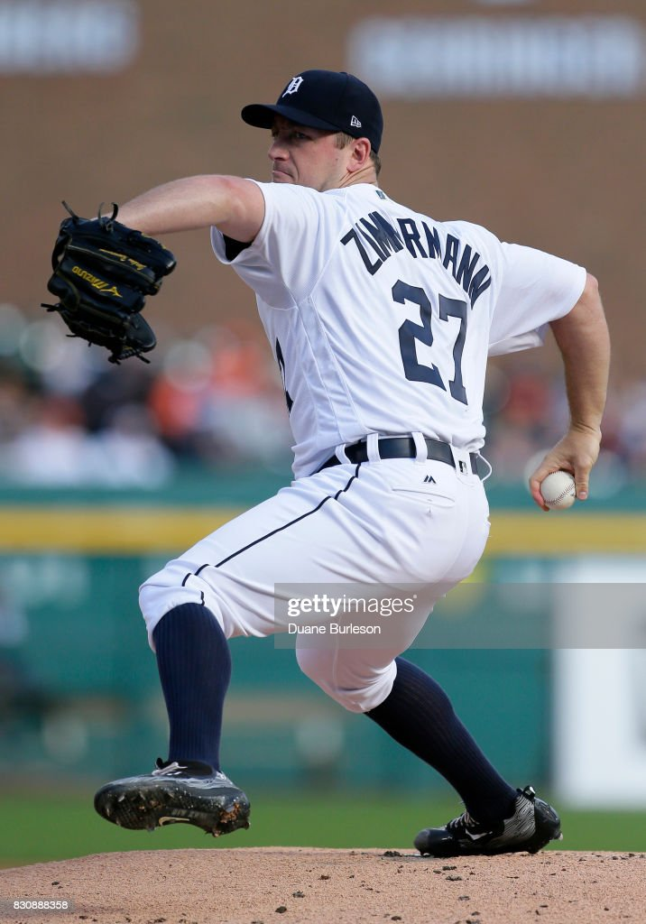 Jordan Zimmermann #27 of the Detroit Tigers pitches against the Minnesota Twins during the first inning at Comerica Park on August 12, 2017 in Detroit, Michigan.