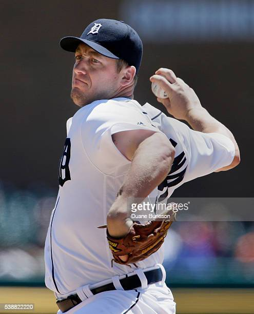 Jordan Zimmermann of the Detroit Tigers pitches against the Toronto Blue Jays during the first inning at Comerica Park on June 8 2016 in Detroit...
