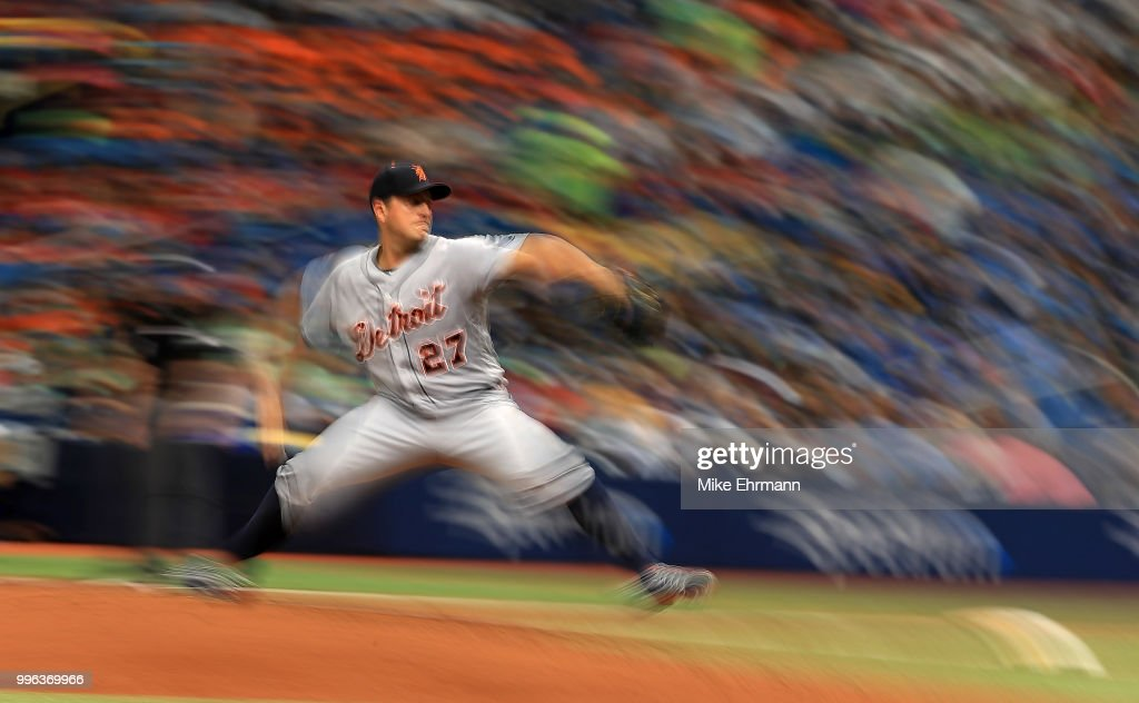 Jordan Zimmermann #27 of the Detroit Tigers pitches during a game against the Tampa Bay Rays at Tropicana Field on July 11, 2018 in St Petersburg, Florida.