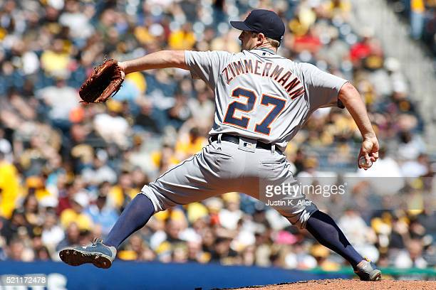 Jordan Zimmermann of the Detroit Tigers pitches during interleague play against the Pittsburgh Pirates at PNC Park on April 14 2016 in Pittsburgh...