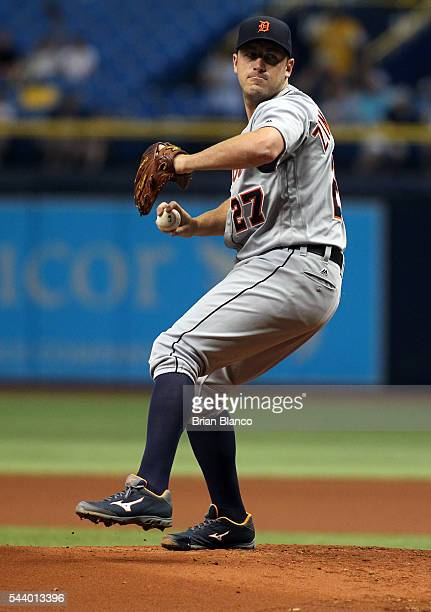 Jordan Zimmermann of the Detroit Tigers pitches during the first inning of a game against the Tampa Bay Rays on June 30 2016 at Tropicana Field in St...