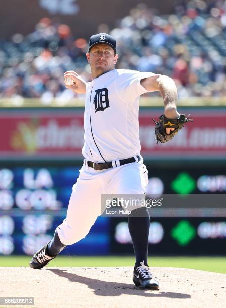 Jordan Zimmermann of the Detroit Tigers pitches during the first inning of the game against the Boston Red Sox on April 8 2017 at Comerica Park in...