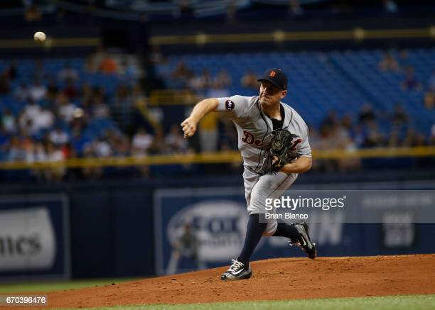 Jordan Zimmermann of the Detroit Tigers pitches during the first inning of a game against the Tampa Bay Rays on April 19 2017 at Tropicana Field in...