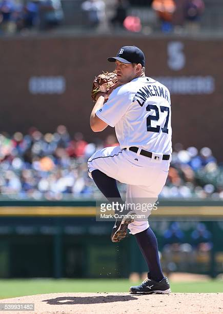 Jordan Zimmermann of the Detroit Tigers pitches during the game against the Toronto Blue Jays at Comerica Park on June 8 2016 in Detroit Michigan The...