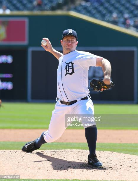 Jordan Zimmermann of the Detroit Tigers pitches during the game against the Baltimore Orioles at Comerica Park on April 19 2018 in Detroit Michigan...