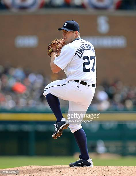 Jordan Zimmermann of the Detroit Tigers pitches during the Opening Day game against the New York Yankees at Comerica Park on April 8 2016 in Detroit...