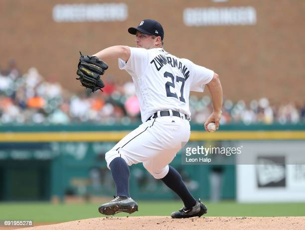 Jordan Zimmermann of the Detroit Tigers pitches during the second inning of the game against the Chicago White Sox on June 3 2017 at Comerica Park in...