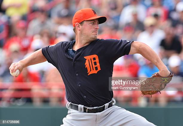 Jordan Zimmermann of the Detroit Tigers pitches during the Spring Training game against the Washington Nationals at Space Coast Stadium on March 5...