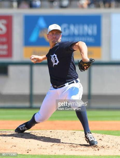 Jordan Zimmermann of the Detroit Tigers pitches during the Spring Training game against the Philadelphia Phillies at Publix Field at Joker Marchant...