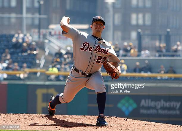 Jordan Zimmermann of the Detroit Tigers pitches in the first inning during interleague play against the Pittsburgh Pirates at PNC Park on April 14...