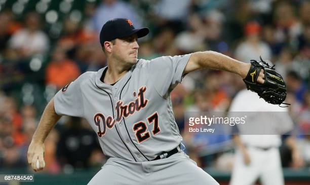 Jordan Zimmermann of the Detroit Tigers pitches in the first inning against the Houston Astros at Minute Maid Park on May 23 2017 in Houston Texas