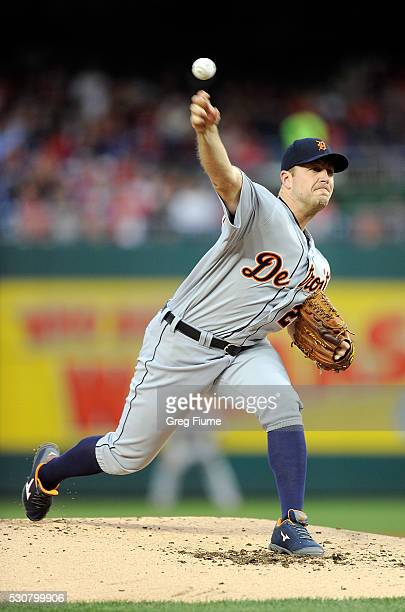 Jordan Zimmermann of the Detroit Tigers pitches in the second inning against the Washington Nationals at Nationals Park on May 11 2016 in Washington...