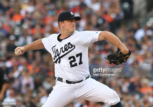 Jordan Zimmermann of the Detroit Tigers pitches while wearing a special jersey to honor the ¡Fiesta Tigres celebration game against the Minnesota...