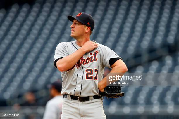 Jordan Zimmermann of the Detroit Tigers reacts after allowing a two run home run in the second inning against the Pittsburgh Pirates during game one...
