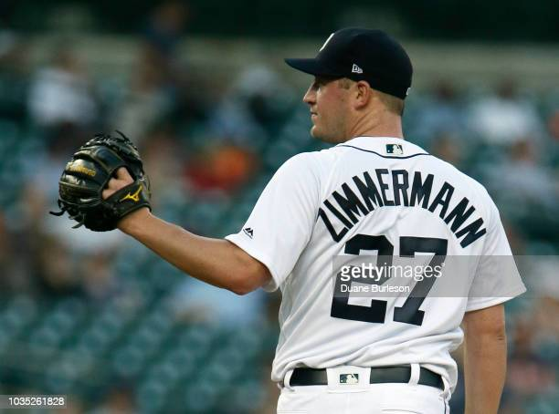 Jordan Zimmermann of the Detroit Tigers reacts after giving up a solo home run to Eddie Rosario of the Minnesota Twins during the first inning at...
