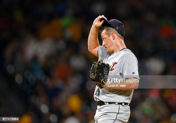 Jordan Zimmermann of the Detroit Tigers reacts after giving up a two run home run in the seventh inning against the Pittsburgh Pirates during...