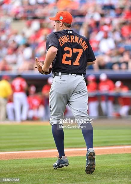 Jordan Zimmermann of the Detroit Tigers runs onto the field during the Spring Training game against the Washington Nationals at Space Coast Stadium...