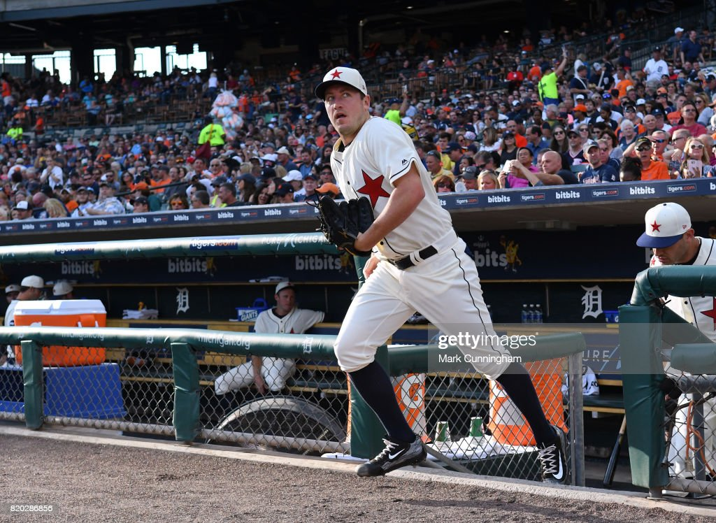 Jordan Zimmermann #27 of the Detroit Tigers runs out of the dugout while wearing a Detroit Stars Negro League Tribute uniform during game two of a double header against the Cleveland Indians at Comerica Park on July 1, 2017 in Detroit, Michigan. The Indians defeated the Tigers 4-1.