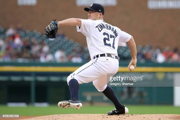Jordan Zimmermann of the Detroit Tigers throws a first inning pitch while playing the New York Yankees at Comerica Park on August 23 2017 in Detroit...