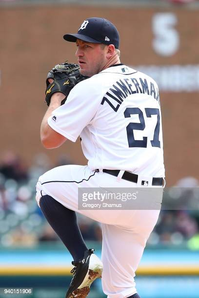Jordan Zimmermann of the Detroit Tigers throws a first inning pitch while playing the Pittsburgh Pirates during Opening Day at Comerica Park on March...
