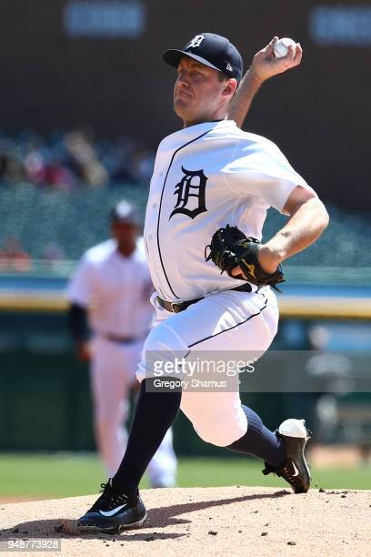 Jordan Zimmermann of the Detroit Tigers throws a first inning pitch while playing the Baltimore Orioles at Comerica Park on April 19 2018 in Detroit...