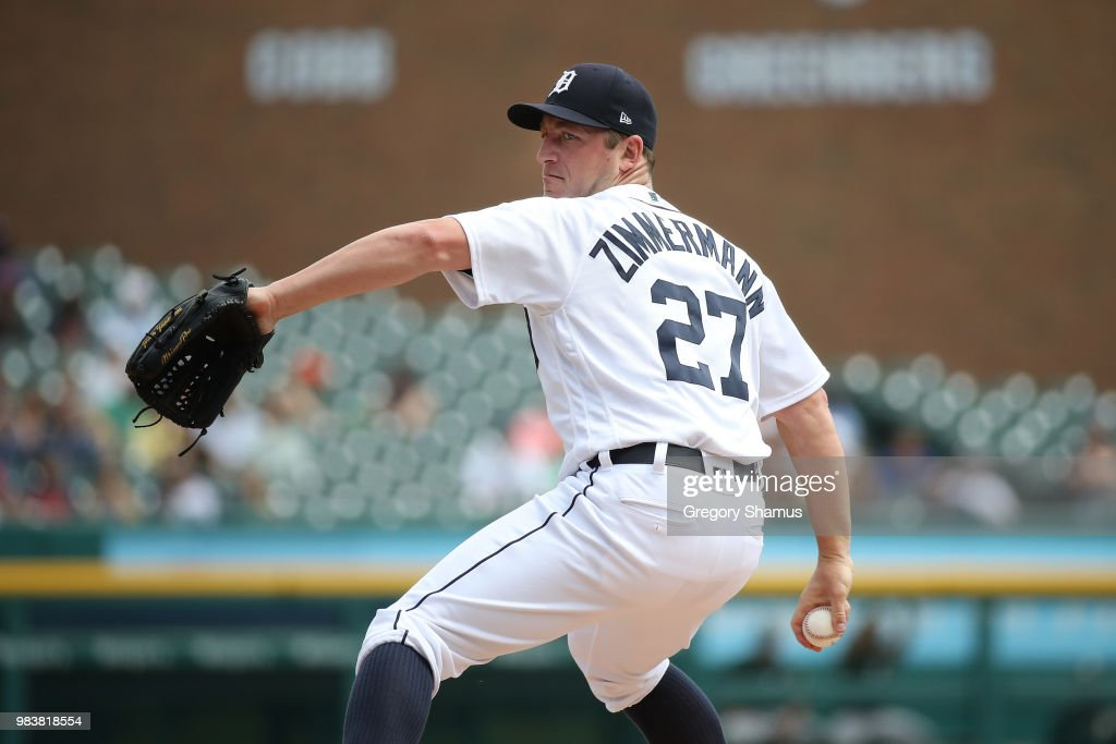 Jordan Zimmermann #27 of the Detroit Tigers throws a first inning pitch while playing the Oakland Athletics at Comerica Park on June 25, 2018 in Detroit, Michigan.