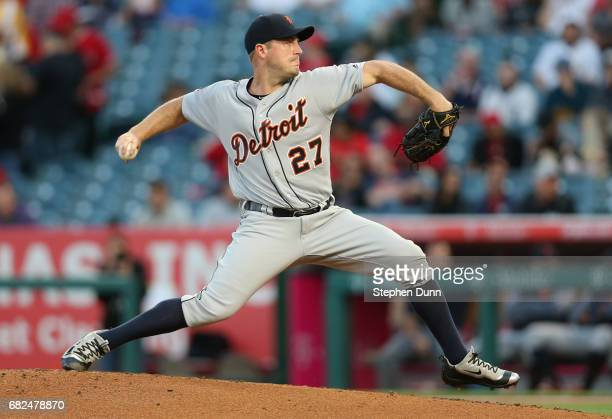 Jordan Zimmermann of the Detroit Tigers throws a pitch in the first inning against the Los Angeles Angels of Anaheim at Angel Stadium of Anaheim on...