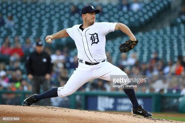 Jordan Zimmermann of the Detroit Tigers throws a second inning pitch while playing the Tampa Bay Rays at Comerica Park on April 30 2018 in Detroit...