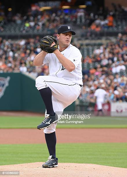 Jordan Zimmermann of the Detroit Tigers throws a warmup pitch during the game against the Baltimore Orioles at Comerica Park on September 10 2016 in...