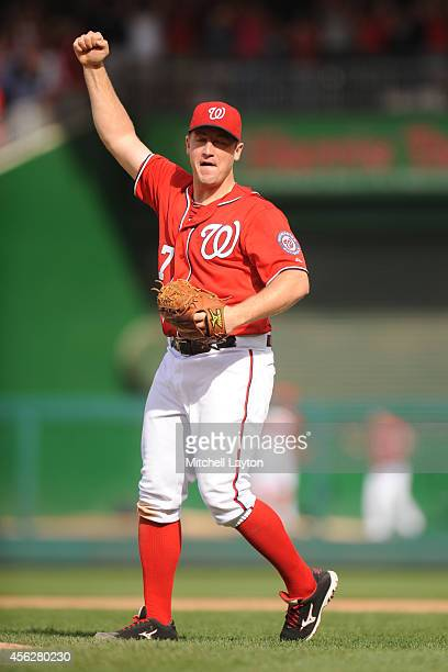 Jordan Zimmermann of the Washington Nationals celebrates his nohitter after a baseball game against the Miami Marlins on September 28 2014 at...