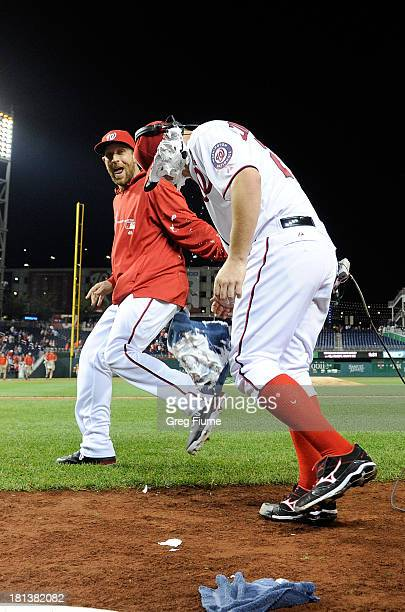 Jordan Zimmermann of the Washington Nationals gets shaving creamed by teammate Ryan Mattheus after pitching a complete game shutout against the Miami...