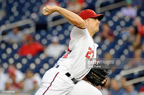 Jordan Zimmermann of the Washington Nationals pitches against the Arizona Diamondbacks at Nationals Park on August 23 2011 in Washington DC