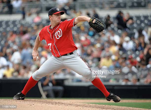 Jordan Zimmermann of the Washington Nationals pitches during the third inning of a baseball game against the San Diego Padres at Petco Park on June...