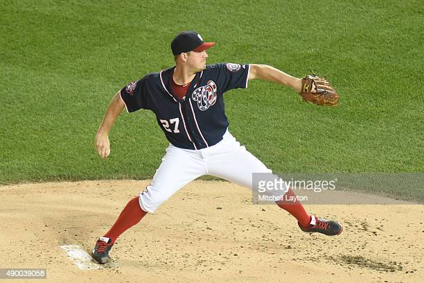 Jordan Zimmermann of the Washington Nationals pitches in the first inning during a baseball game against the Philadelphia Phillies at Nationals Park...