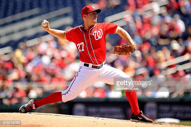 Jordan Zimmermann of the Washington Nationals pitches in the second inning during a baseball game against the Philadelphia Phillies at Nationals Park...