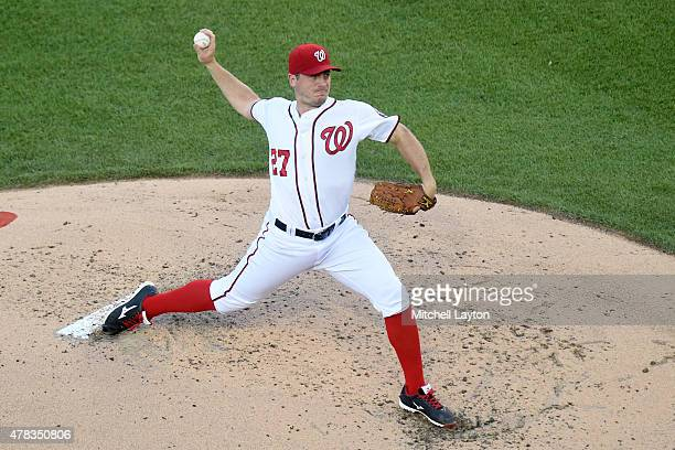 Jordan Zimmermann of the Washington Nationals pitches in third inning during a baseball game against the Washington Nationals at Nationals Park on...