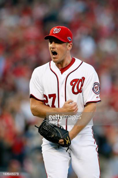 Jordan Zimmermann of the Washington Nationals reacts after he struck out the side in the top og the seventh inning against the St Louis Cardinals...