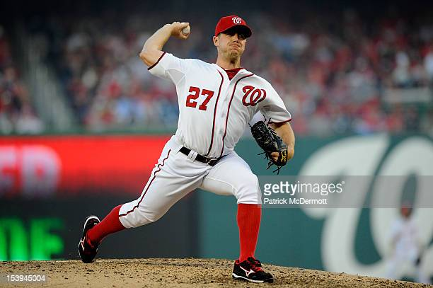 Jordan Zimmermann of the Washington Nationals throws a pitch against the St Louis Cardinals during Game Four of the National League Division Series...
