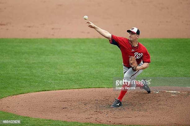 Jordan Zimmermann of the Washington Nationals throws a pitch during the first inning of a spring training game against the Atlanta Braves at Champion...