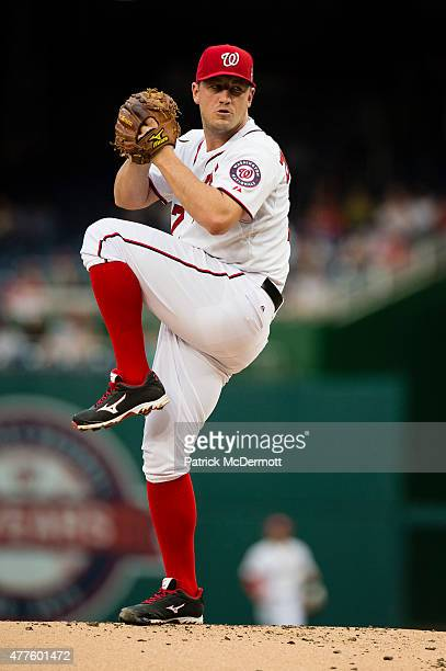 Jordan Zimmermann of the Washington Nationals throws a pitch to a Tampa Bay Rays batter in the second inning of a baseball game at Nationals Park on...