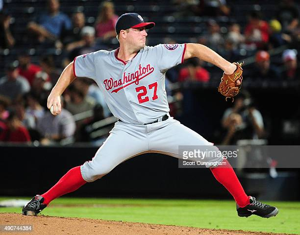 Jordan Zimmermann of the Washington Nationals throws a third inning pitch against the Atlanta Braves at Turner Field on September 30 2015 in Atlanta...