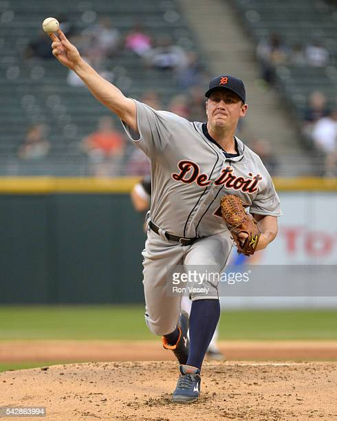 Jordan Zimmermann the Detroit Tigers pitches against the Chicago White Sox on June 14 2016 at US Cellular Field in Chicago Illinois The Tigers...
