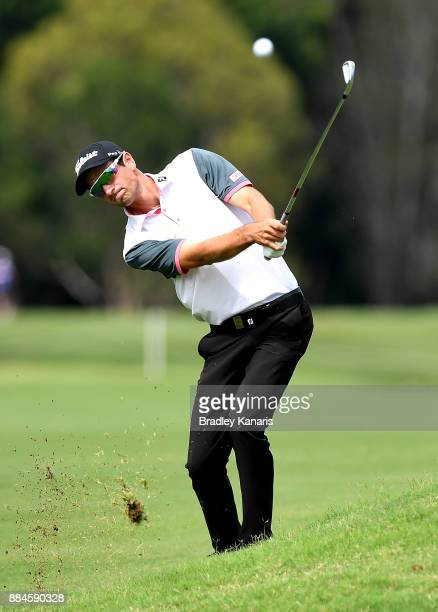 Jordan Zunic of Australia plays a shot on the 2nd hole during day four of the 2017 Australian PGA Championship at Royal Pines Resort on December 3...