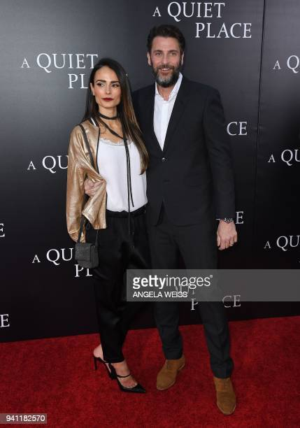 Jordana Brewster and Andrew Form attend the Paramount Pictures premiere for 'A Quiet Place' at AMC Lincoln Square Theater on April 2 2018 in New York...