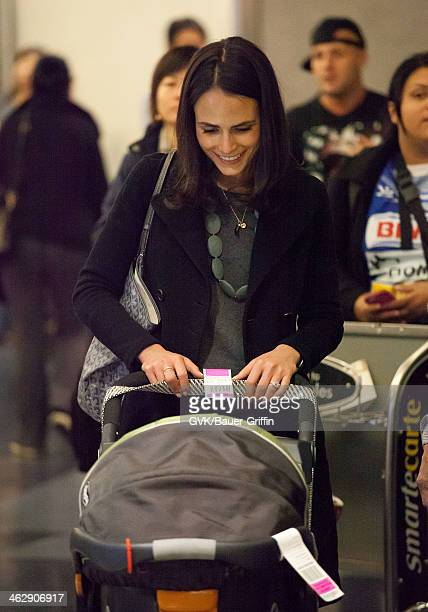 Jordana Brewster and her son Julian BrewsterForm are seen at LAX airport on January 15 2014 in Los Angeles California